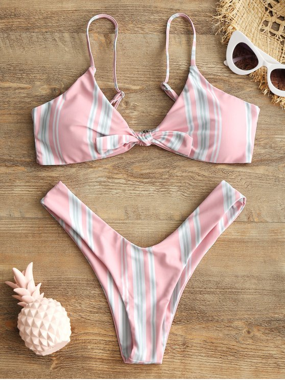 online Striped Knotted Bra and High Cut Swim Briefs - PINK S