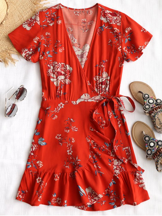 fancy Plunging Neck Floral Wrap Beach Dress - RED L