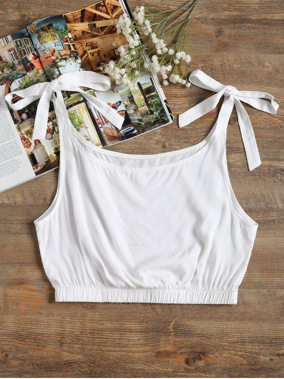 women's Self-tie Crop Top - WHITE M
