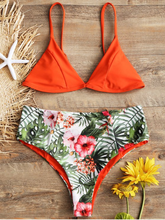 fashion Cami Leaf Print High Waisted Bikini Set - JACINTH S