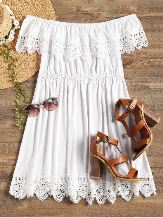 Recorte de renda recortada fora do vestido de ombro - Branco M