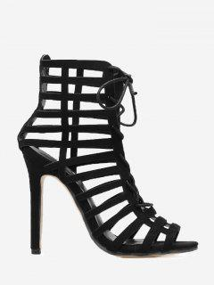 Caged High Heel Sandals - Black 36