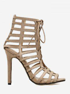 Caged High Heel Sandals - Apricot 36
