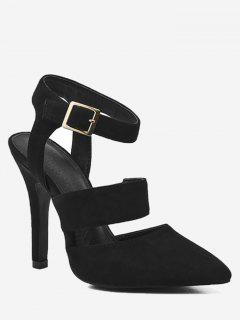 Stiletto Heel Buckled Sandals - Black 38
