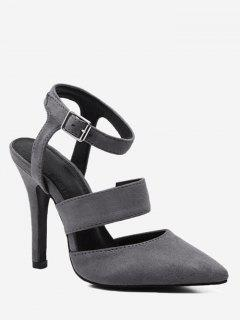 Stiletto Heel Buckled Sandals - Gray 34