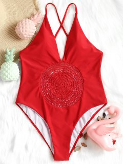 Crochet Panel High Cut Swimsuit - Red S