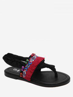 Tribal Embroidery Thong Sandals - Black 40