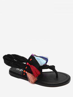 Zapatos De Tanga Al Aire Libre Rebordear - Negro 37
