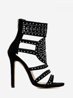 Rhinestone Accent High Heel Sandals - Black 36