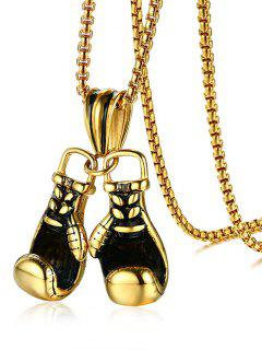 Stainless Steel Boxing Glove Necklace - Golden
