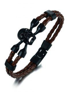 PU Leather Rope Braid Skull Bracelet - Black And Brown