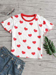 Camiseta Con Estampado De Corazones Dobladillo De Lechuga - Blanco M