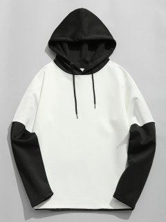 Color Block Space Cotton Hoodie - White And Black 2xl