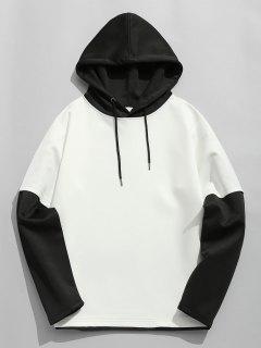 Sweat à Capuche En Coton Color Block Space - Blanc Et Noir L