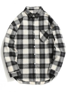 Checked Button Up Shirt - Grey And White L