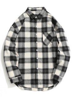 Chemise Boutonnée à Carreaux - Gris Et Blanc M