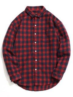 Knopf-oben Tartan-Hemd - Rot L