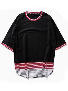 Camiseta De Rayas Dobladillo De Arco - Negro L