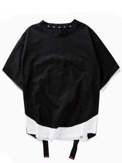 Streetwear Relaxed Zipper T-shirt - Black L