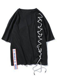Streetwear Ribbon Lace Up T-shirt - Black 2xl
