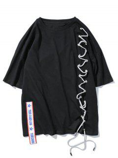 Streetwear Ribbon Lace Up T-shirt - Black L