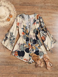Slit Sleeve Low Cut Leaf Beach Romper - Apricot M