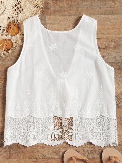 Embroidered Back Tied Beach Top - White M