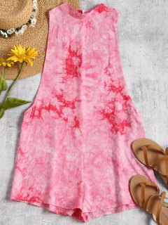 Dropped Armhole Tie Dyed Romper - Tutti Frutti L