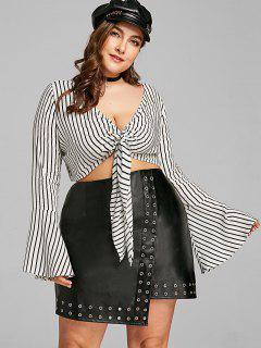 Plus Size Striped Tie Front Crop Blouse - White Xl