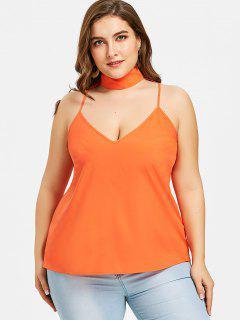 Plus Size Mock Neck Cutout Tank Top - Orange Xl