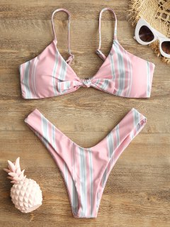 Striped Knotted Bra And High Cut Swim Briefs - Pink S