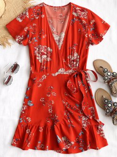 Plunging Neck Floral Wrap Beach Dress - Red L