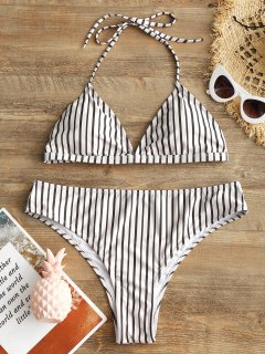 Plus Size Halter Striped High Cut Bikini Set - White 2xl