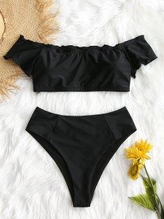 Lettuce Trim Off Shoulder Plus Size Bikini - Black 3xl