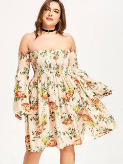 Robe Grande Taille Fleurie à épaules Dénudées - Abricot 5xl