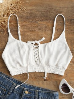 Lace-up Crop Camis - White M