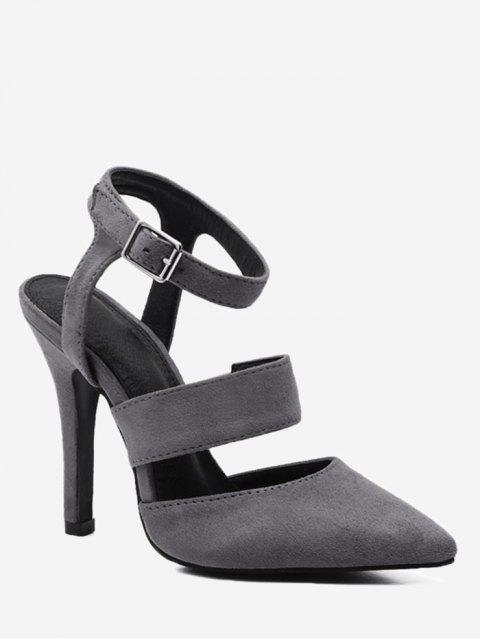 buy Stiletto Heel Buckled Sandals - GRAY 39 Mobile