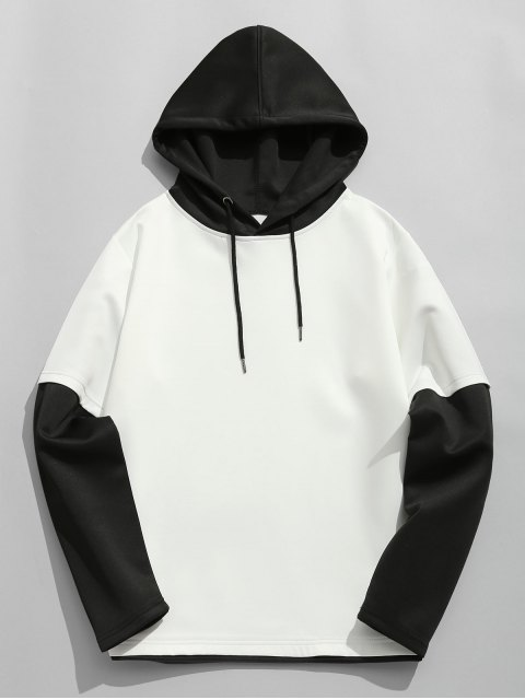 women Color Block Space Cotton Hoodie - WHITE AND BLACK L Mobile
