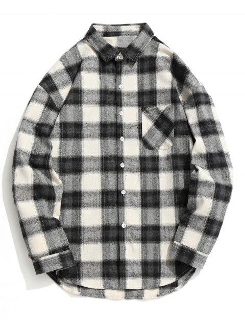 Chemise Boutonnée à Carreaux - Gris et Blanc XL Mobile