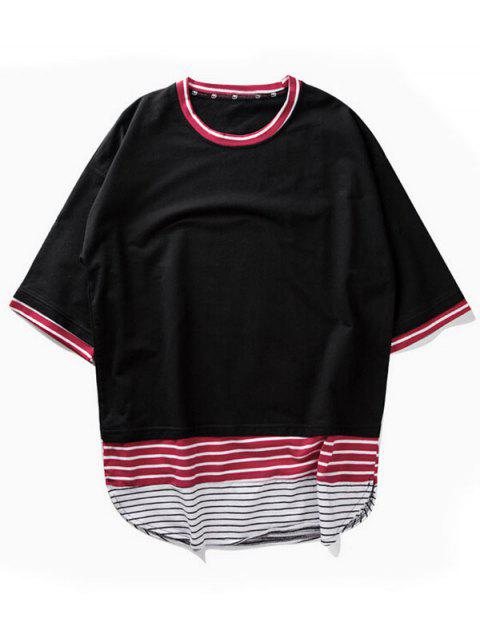 T-shirt rayé d'ourlet d'arc - Noir XL Mobile