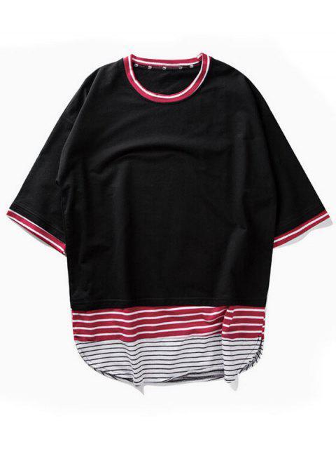 best Striped Arc Hem T-shirt - BLACK L Mobile