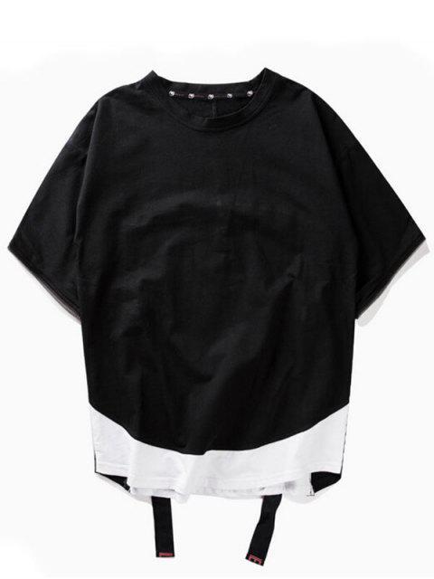 online Streetwear Relaxed Zipper T-shirt - BLACK 2XL Mobile