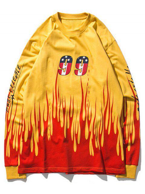 Camiseta estampada con estampado de llamas y manga larga - Amarillo M Mobile