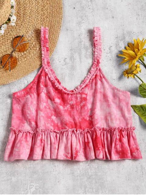 women's Straps Ruffles Tie Dyed Crop Beach Top - TUTTI FRUTTI L Mobile