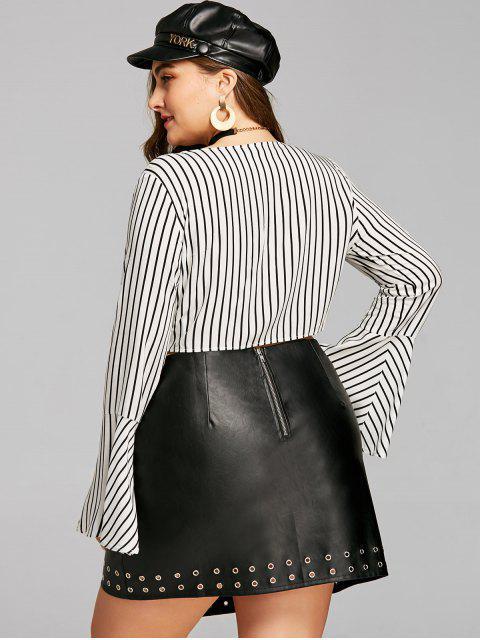 lady Plus Size Striped Tie Front Crop Blouse - WHITE 5XL Mobile