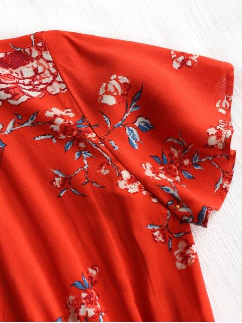 Vestido de playa con pliegues en el cuello y estampado floral - Rojo L Mobile