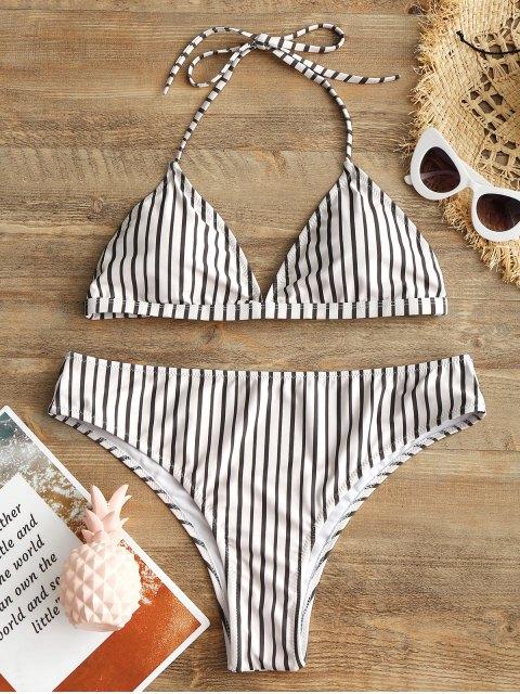 Conjunto de bikini de talle alto a rayas de talle alto Plus Size - Blanco XL Mobile