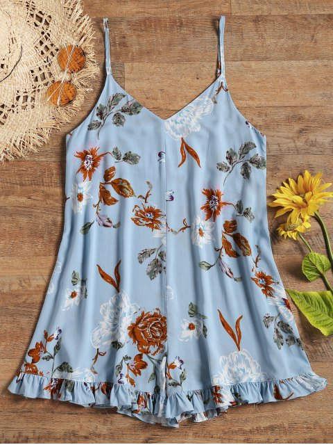fashion Cami Floral Ruffles Beach Romper - LIGHT BLUE S Mobile