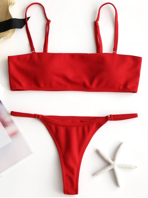 lady Rib Padded Thong Bikini Set - RED M Mobile