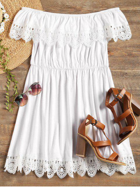 Robe à Épaules Dénudées avec Bordures en Dentelle Festonnée - Blanc M Mobile